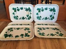 Set Of 6 Vintage Metal Tin Green Ivy Lap TV Trays