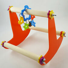 Wooden Seesaw Parrot Stand Birds Standing Play Toys Cage for Pet Claws Grinding