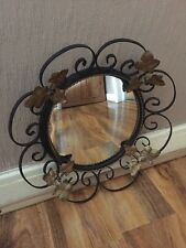 Vintage Retro Black Metal Gold Leaf Mirror Fisheye Convex Mirror Shabby Chic