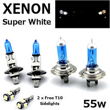 H1 H7 55w SUPER WHITE XENON Upgrade Headlight Bulbs Set Hi Lo Beam II + T10 5SMD
