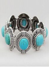 Turquoise Oval Shape Licite Bead On Oval Metal Work Stretch Bracelet