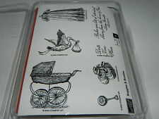 Stampin Up Buggies & Booties Vintage Baby Stamp Set NEW UM Stork Birth Rattle