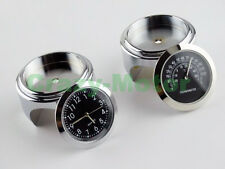 Chrome Steel Motorcycle Handle Bar Clamp Clock & Thermometer For Yamaha Custom