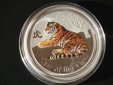 2010 AUSTRALIAN LUNAR YEAR OF THE Tiger 1 oz. SILVER COIN COLOR