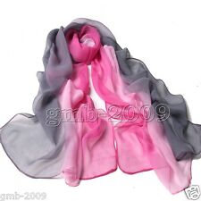 New Fashion Women's Summer Soft Chiffon Thin Gradient Color Pink&Gray Scarf Wrap
