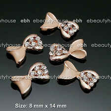 10 PCS Nail Art Champagne Gold Bow Rhinestone Charms Decorations Jewelry #EJ252