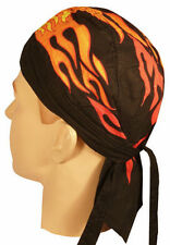FRONT FLAMES FLAME FITTED Tied  Bandana Skull WRAP DOO Do RAG