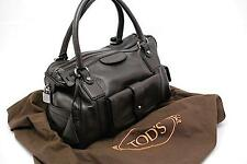 "Tod's Tods Pebble Brown Softest Leather Satchel Tote Bag 12"" x 8"" Silver Hardwre"