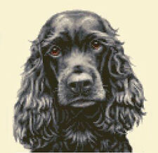 BLACK COCKER SPANIEL dog - FULL counted cross stitch kit
