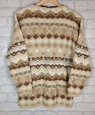 URBAN VINTAGE RETRO AZTEC 90'S GRANNY KNIT OVERSIZED COSBY JUMPER SWEATER S