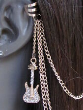 WOMEN GOLD GUITAR METAL MULTI CHAINS FASHION HAIR PIN CONNECTED CUFF EARRING