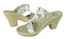 BORN WOMENS TINKER WHITE GOLD SANDALS SLIDES T-STRAP 10