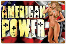 """American Power"" Pin-Up Girl Metal Sign - Past Time Signs LETH025"