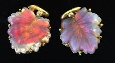 Vintage Goldtone Frosted Pink Clear Glass Leaf Clip Earrings Leaves Fall Runway