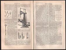 Druck 1908: Holzbearbeitung. Sägen, Raspeln, Hobeln, Bohren Schneidkanten Fräsen