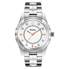 Bulova Women's 98P135 Diamond Markers Quartz Ceramic Center Links Bracelet Watch