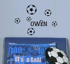 Set of 6 Boys Soccer Ball Custom Name Wall Sticker Football Sport Removable
