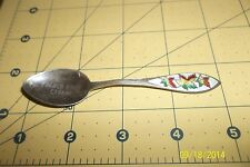 enameled maple leaf french river Canada sterling souvenir spoon