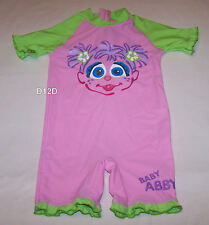 Sesame Street Abby Girls Pink Green 1 Piece Bathers Swimsuit Size 00 New