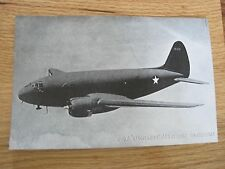 C-46 Flying Commando Paratroop Trans Airplane Picture World War II 2 Black White