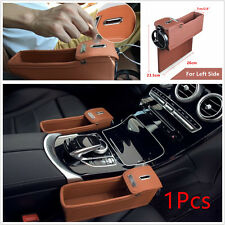 1Pcs Leather PU Car Seat Gap Catcher Coin Collector Storage Box With Cup Holder