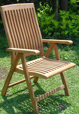 Marley Grade-A Teak Wood Dining Reclining Folding Arm Chair Outdoor Furniture NW