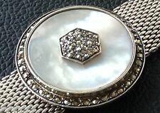 """Antique Bracelet in Mother of Pearl with Marcasite Size 7"""" (Circa 1930's)"""