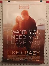 Original Movie Poster Like Crazy Double Sided 27x40