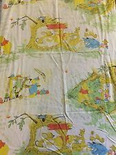 Vintage Sears Perma Prest Winnie the Pooh neutral crib/toddler bed sheet Disney
