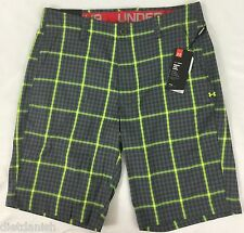 Under Armour Men's Athletic Shorts Loose Heat Gear Grey Neon Plaid NWT Size 34