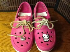 Crocs girls shoes youth size 2 pink hello kitty buttons  F1