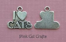 5 x i love cats tibetan silver charms pendentifs perles