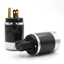 One pure Copper Gold Plated US AC Power Plug Male IEC Female Carbon Fiber
