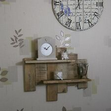 2 Shelf Solid Wood Wall Art Rustic Industrial Country Shabby Chic Shelving Unit