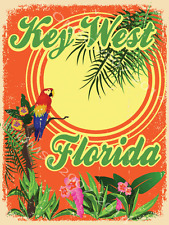 Key West Florida Metal Sign, Parrot, Palm Tree, Den or Gameroom Decor
