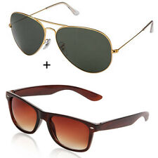 Magjons Combo Of Brown wayfarer and Golden Green aviator MJ2254