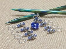 Knitting Stitch Marker Set (SNAG FREE)- Set of 9- Blue and silver