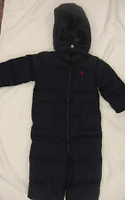 RALPH LAUREN Baby snowsuit DOWN jacket outfit ski winter suit 18 months navy boy