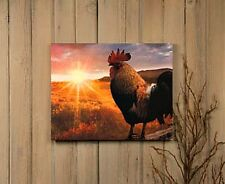 New Country Farmhouse RISE SHINE Rooster Chicken Sunrise Lighted Canvas Picture