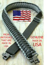 Adjustable Paracord Rifle Gun Sling Strap With Swivels Charcoal Gray & Black