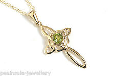 "9ct Gold Peridot Celtic Cross Pendant and 18"" chain Made in UK Gift Boxed"