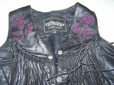 WOMENS BLACK LEATHER UNIK VEST ROSE FRINGE MOTORCYCLE BIKER SIZE SMALL
