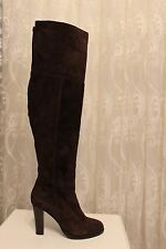 Karen Millen Otk Brown Suede Leather Long Over Knee Elasticated Boots 7 40