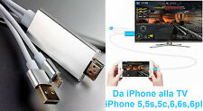 Adattatore USB VIDEO HDMI da iPhone a TV. 5,5s,5c,6,6s,6plus.Cavo AV USB HD A/V