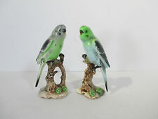 Parakeet Bird Figurines Vintage Ucagco Statues Porcelain Blue Green Set of 2