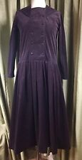 Vintage 80s Laura Ashley Dark Purple Corduroy Sailor Drop Waist Dress UK12