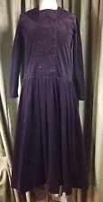 Vintage 80s Laura Ashley Púrpura Oscuro Vestido cintura caída Marinero De Pana UK12
