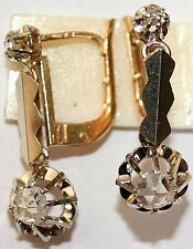 ANTIQUE FRENCH VICTORIAN 18k GOLD R DIAMOND 2 STONE FINE DANGLE EARRINGS c 1900