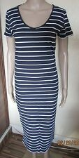NWT NAVY/WHITE STRIPE CALF LENGTH DRESS SIZE SMALL (34'' CHEST)