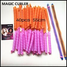 40pcs 55cm Colorful Magic Curlers for Curly Hair DIY No Heat Tools Hot Rollers